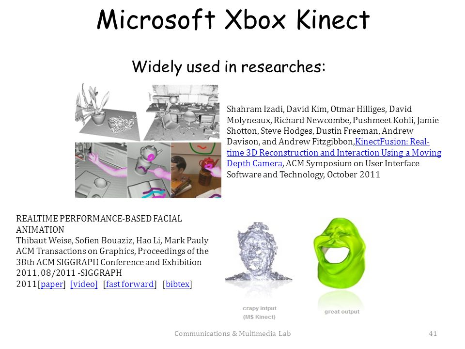 Microsoft Xbox Kinect Widely used in researches: