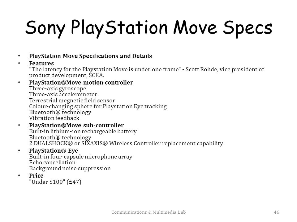 Sony PlayStation Move Specs