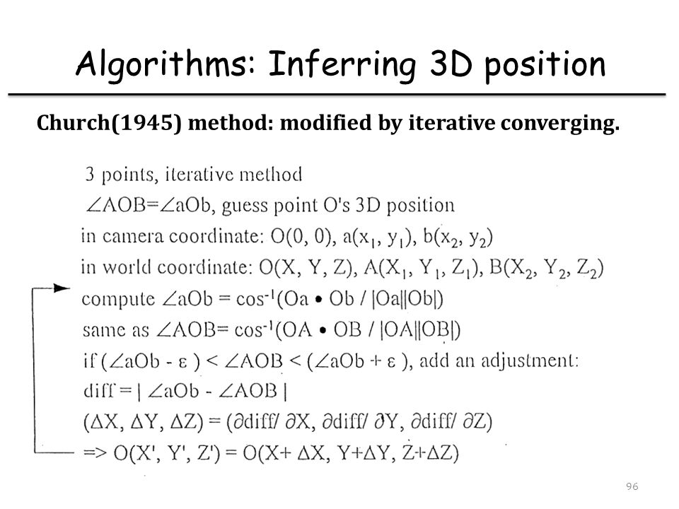 Algorithms: Inferring 3D position