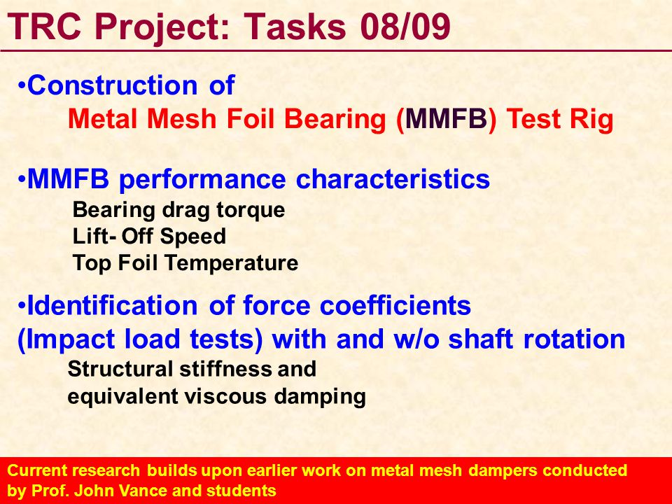 TRC Project: Tasks 08/09 Construction of
