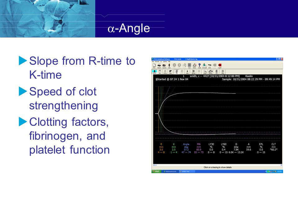 a-Angle Slope from R-time to K-time Speed of clot strengthening