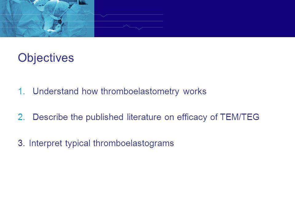 Objectives Understand how thromboelastometry works
