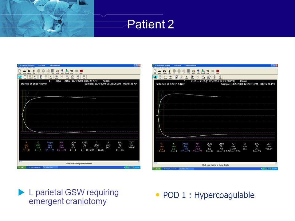 Patient 2 POD 1 : Hypercoagulable