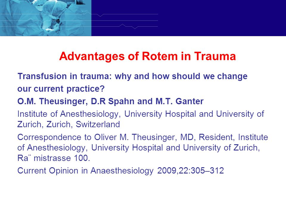 Advantages of Rotem in Trauma