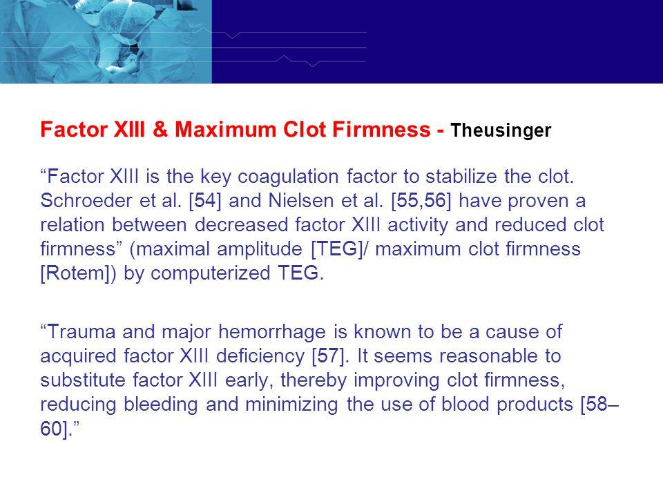 Factor XIII & Maximum Clot Firmness - Theusinger