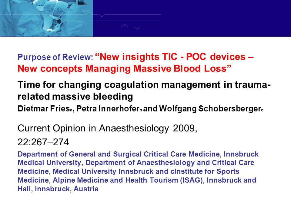 Current Opinion in Anaesthesiology 2009, 22:267–274
