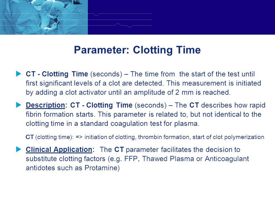 Parameter: Clotting Time