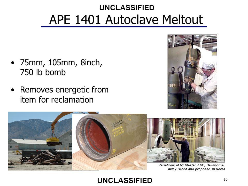 APE 1401 Autoclave Meltout 75mm, 105mm, 8inch, 750 lb bomb