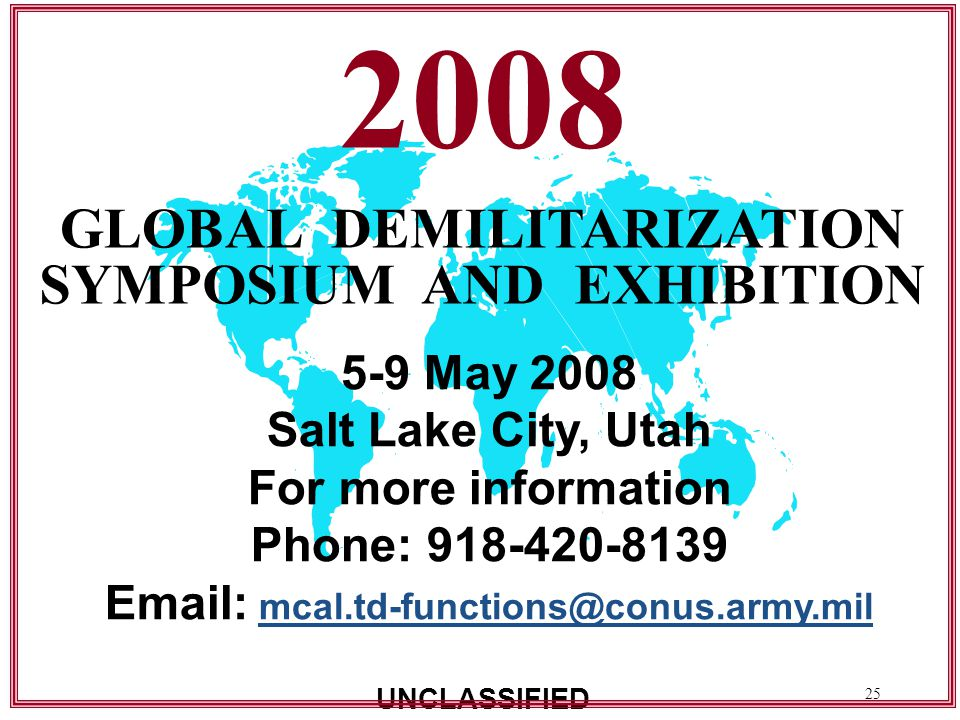 2008 GLOBAL DEMILITARIZATION SYMPOSIUM AND EXHIBITION