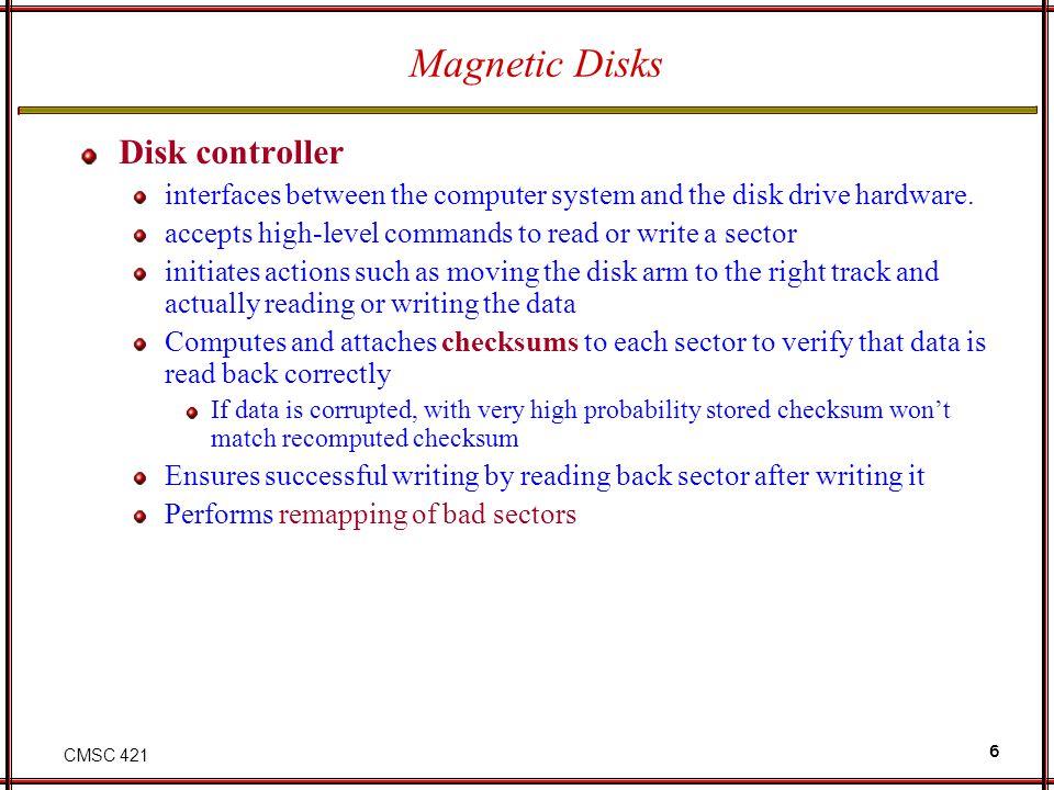 Magnetic Disks Disk controller
