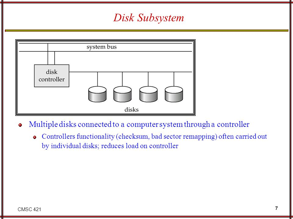 Disk Subsystem Multiple disks connected to a computer system through a controller.