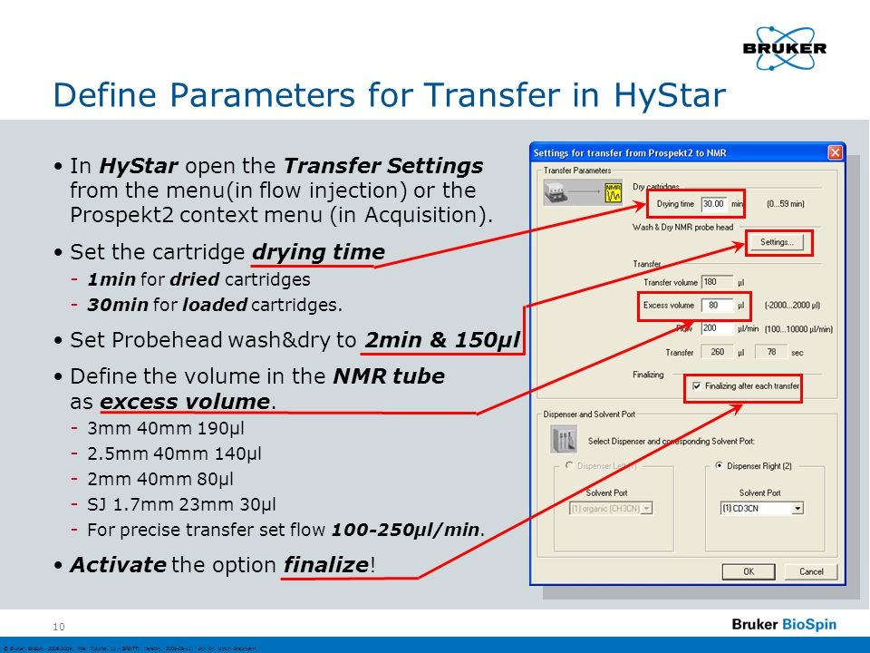 Define Parameters for Transfer in HyStar