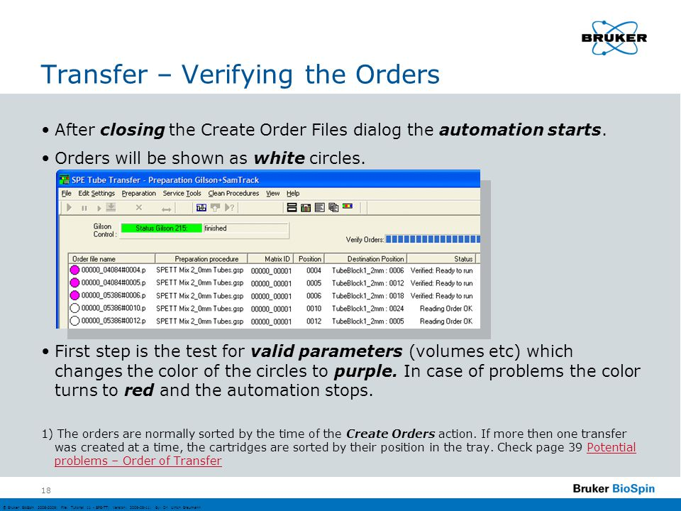 Transfer – Verifying the Orders