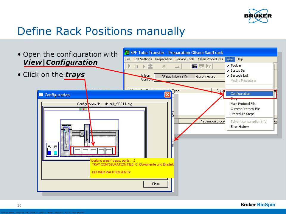 Define Rack Positions manually