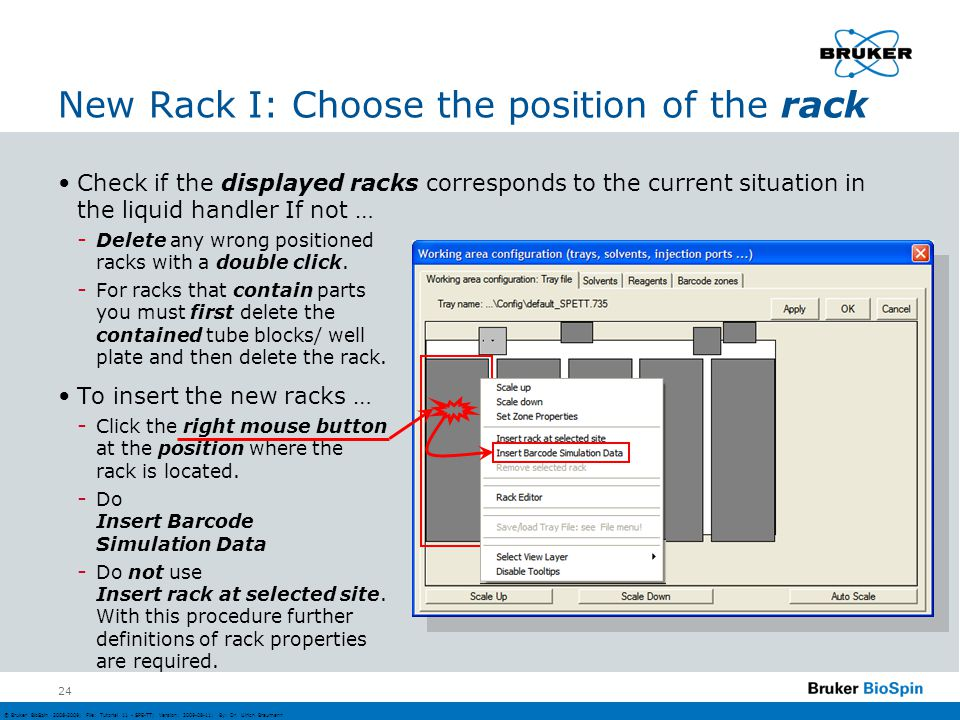 New Rack I: Choose the position of the rack