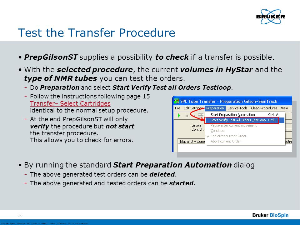 Test the Transfer Procedure