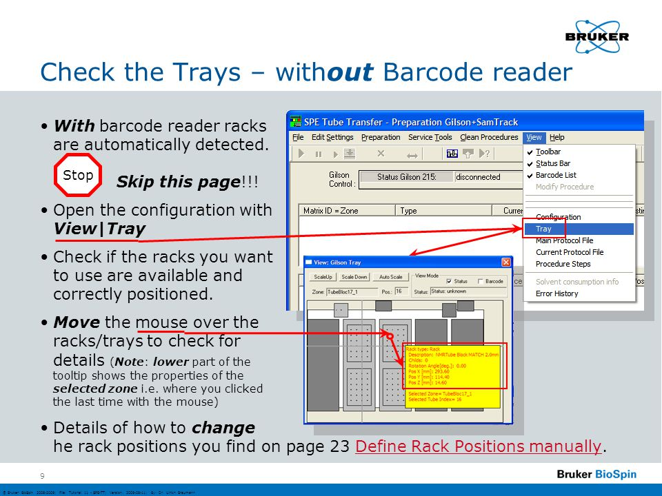 Check the Trays – without Barcode reader