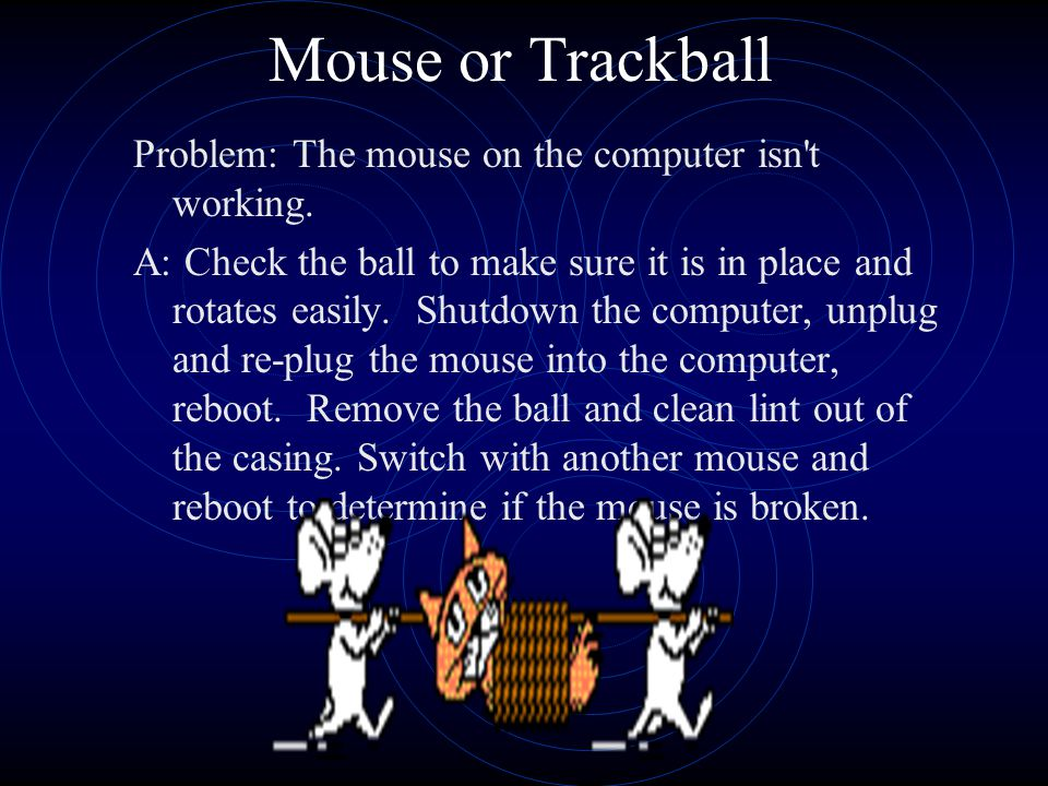 Mouse or Trackball Problem: The mouse on the computer isn t working.