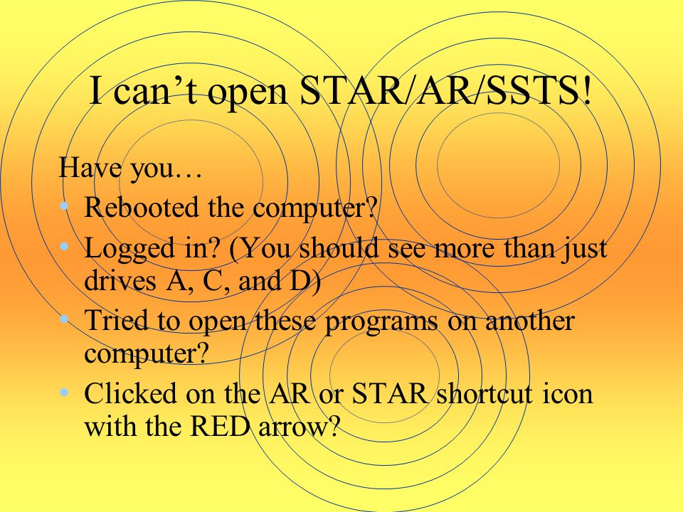 I can't open STAR/AR/SSTS!