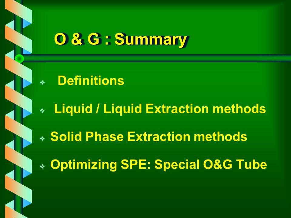 O & G : Summary Definitions Liquid / Liquid Extraction methods
