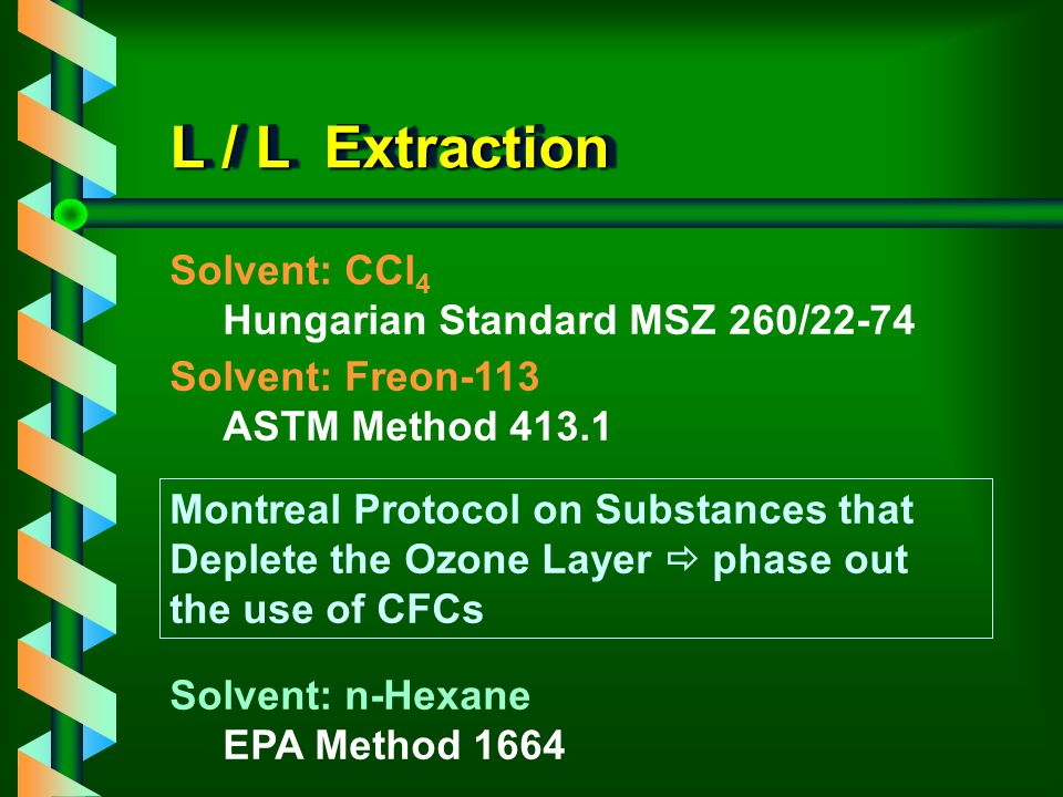 L / L Extraction Solvent: CCl4 Hungarian Standard MSZ 260/22-74