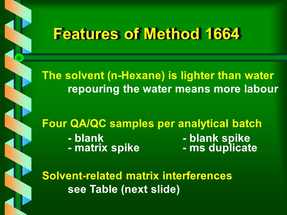 Features of Method 1664 The solvent (n-Hexane) is lighter than water