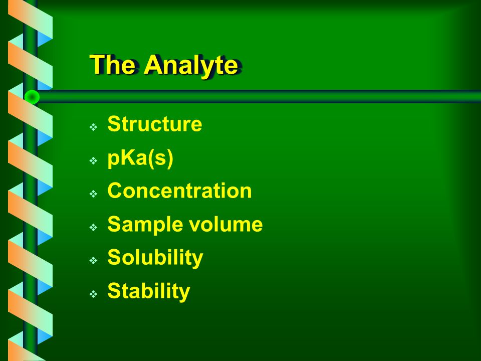The Analyte Structure pKa(s) Concentration Sample volume Solubility