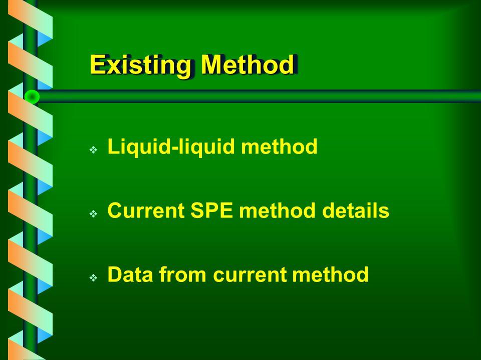 Existing Method Liquid-liquid method Current SPE method details