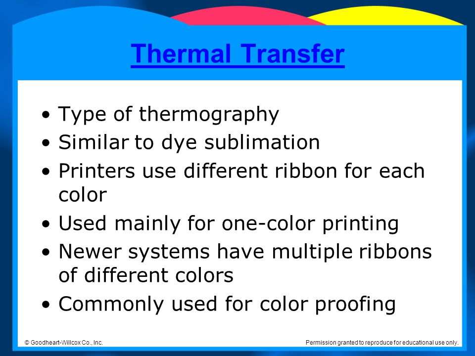 Thermal Transfer Type of thermography Similar to dye sublimation