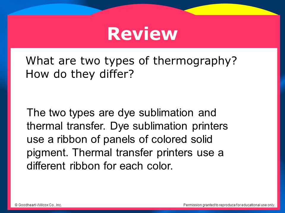 Review What are two types of thermography How do they differ