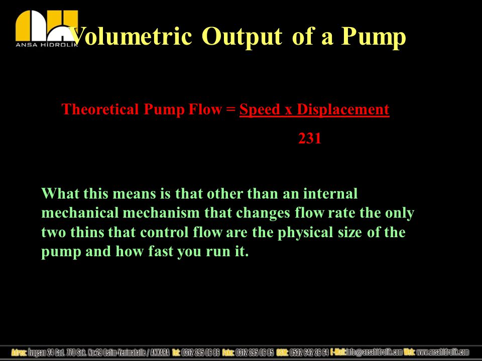 Volumetric Output of a Pump
