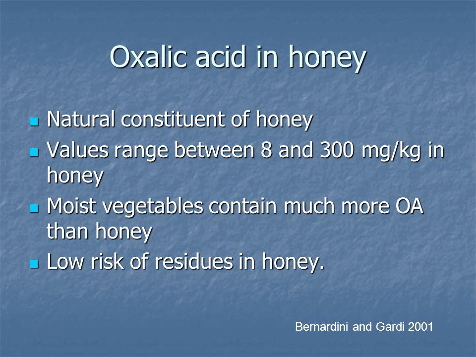 Oxalic acid in honey Natural constituent of honey