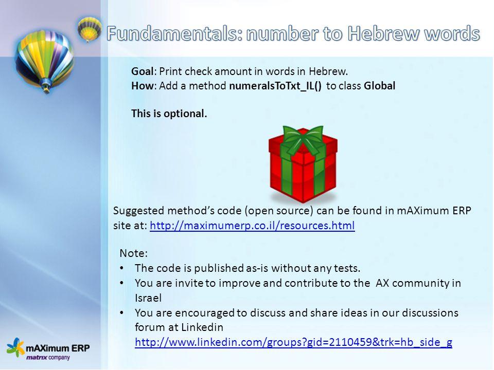 Fundamentals: number to Hebrew words