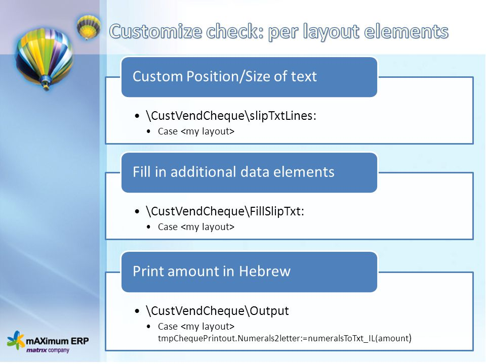 Customize check: per layout elements