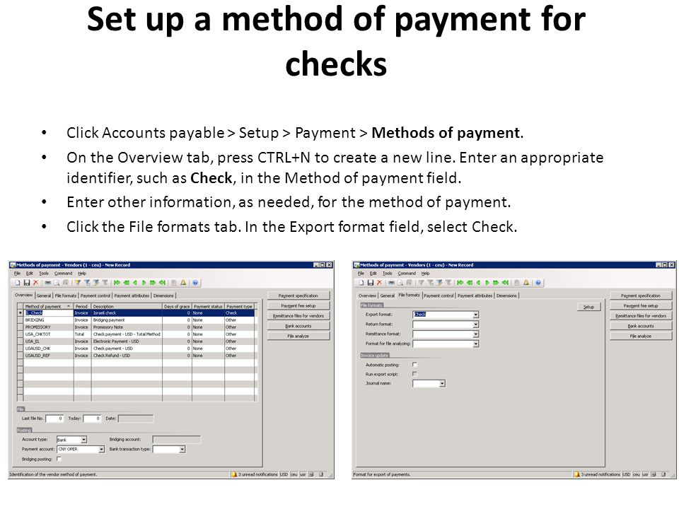 Set up a method of payment for checks