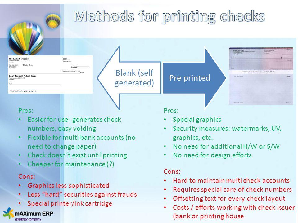 Methods for printing checks