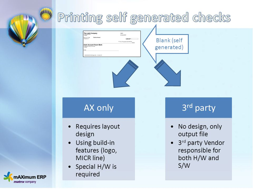 Printing self generated checks