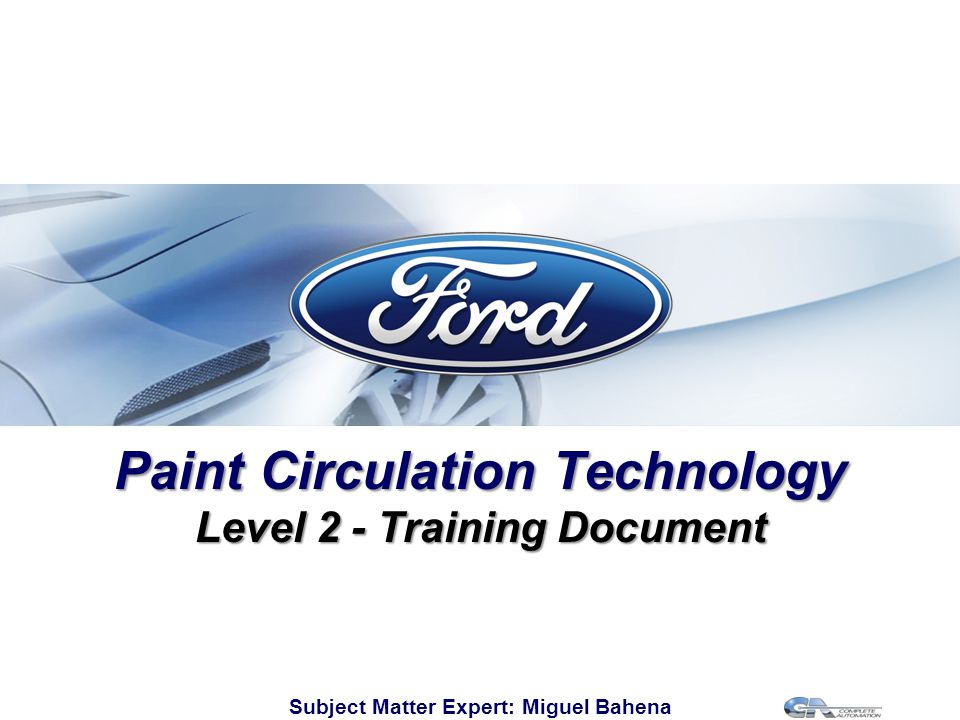 Paint Circulation Technology Level 2 - Training Document
