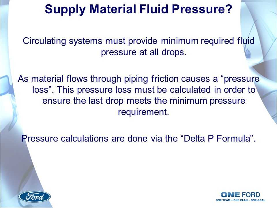 Supply Material Fluid Pressure
