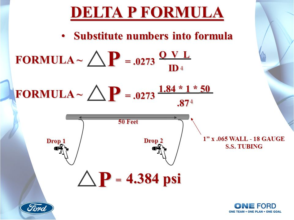 Substitute numbers into formula 1 x .065 WALL - 18 GAUGE S.S. TUBING