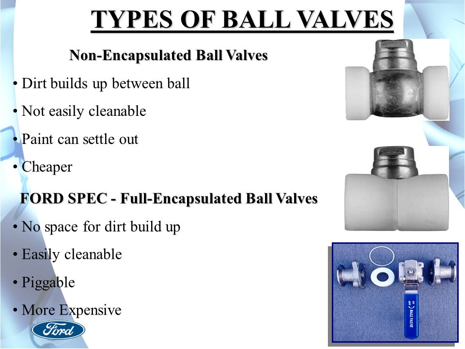 Non-Encapsulated Ball Valves FORD SPEC - Full-Encapsulated Ball Valves