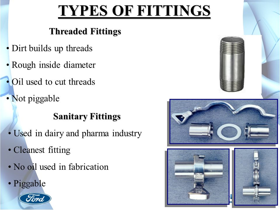 TYPES OF FITTINGS Threaded Fittings Dirt builds up threads