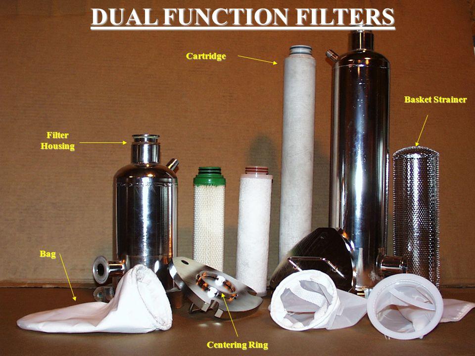 DUAL FUNCTION FILTERS Cartridge Basket Strainer Filter Housing Bag