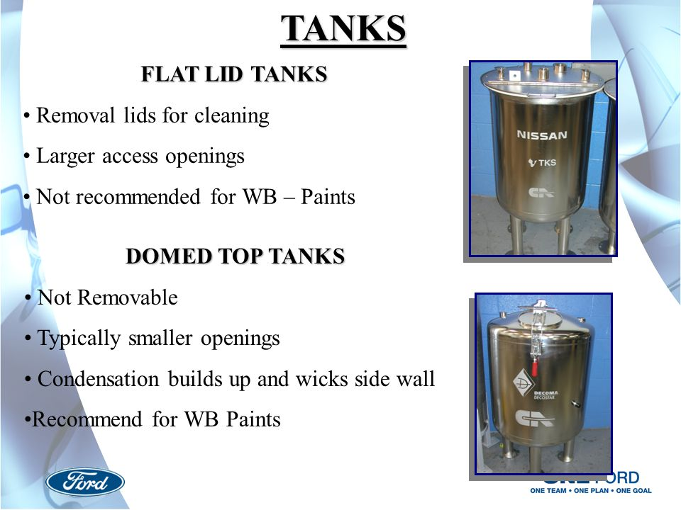 TANKS FLAT LID TANKS Removal lids for cleaning Larger access openings