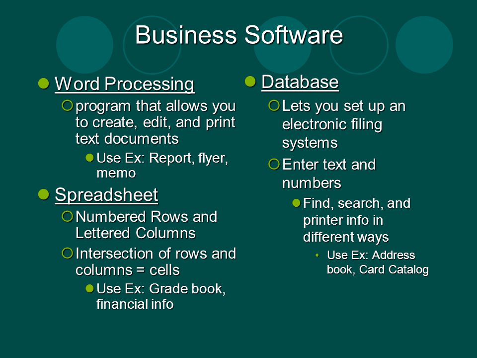Business Software Database Word Processing Spreadsheet
