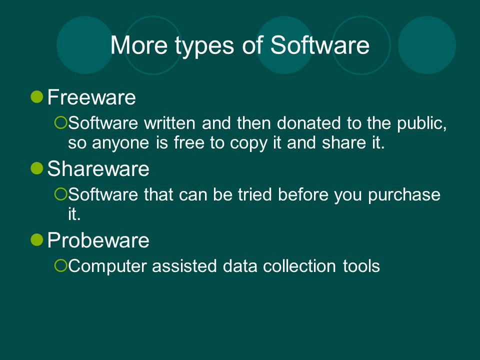 More types of Software Freeware Shareware Probeware
