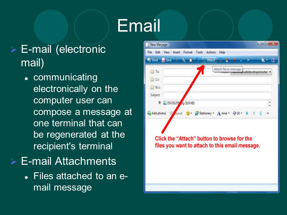 Email E-mail (electronic mail) E-mail Attachments