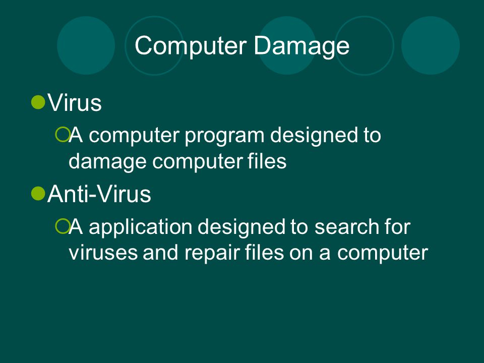 Computer Damage Virus Anti-Virus