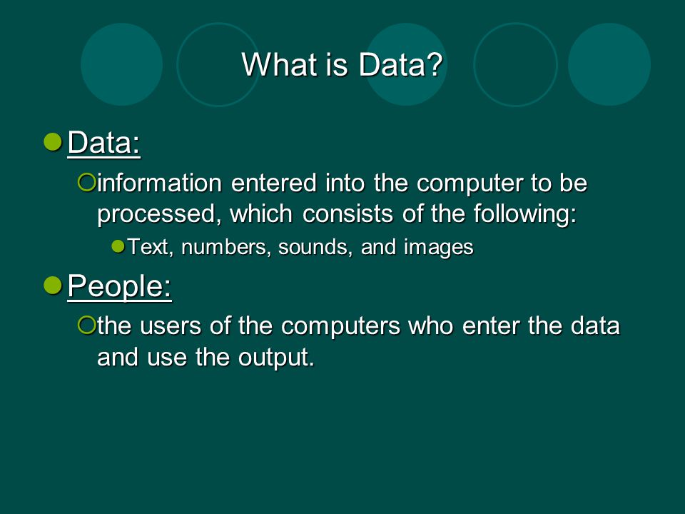 What is Data Data: People: