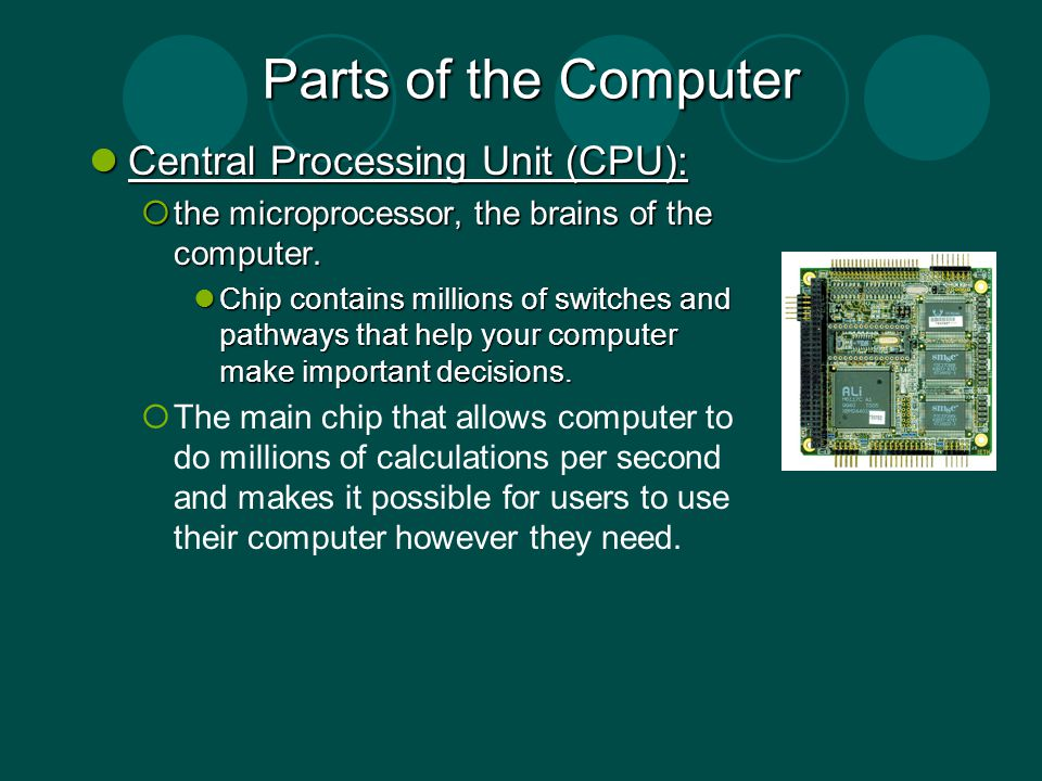 Parts of the Computer Central Processing Unit (CPU):